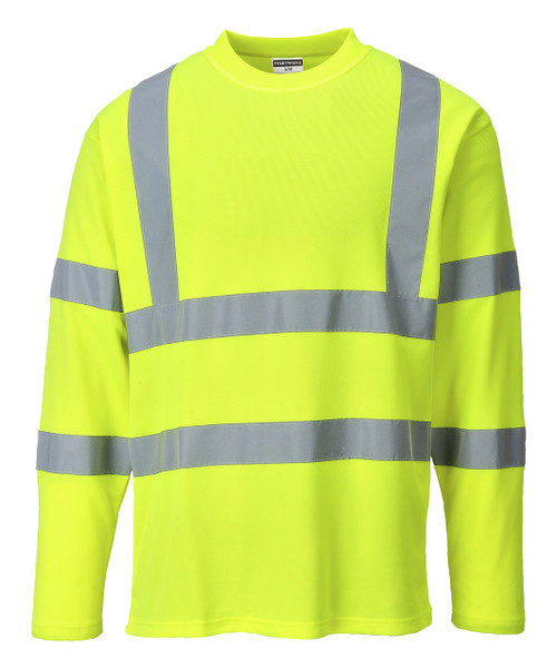 Portwest Cotton Comfort Long Sleeved T-Shirt - SET OF TWO: Front View Yellow