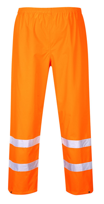 Portwest Hi-Vis Traffic Pants - SET OF TWO: Front View Orange
