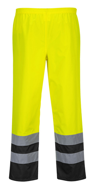 Portwest Hi-Vis Two Tone Traffic Pant: Front View Yellow