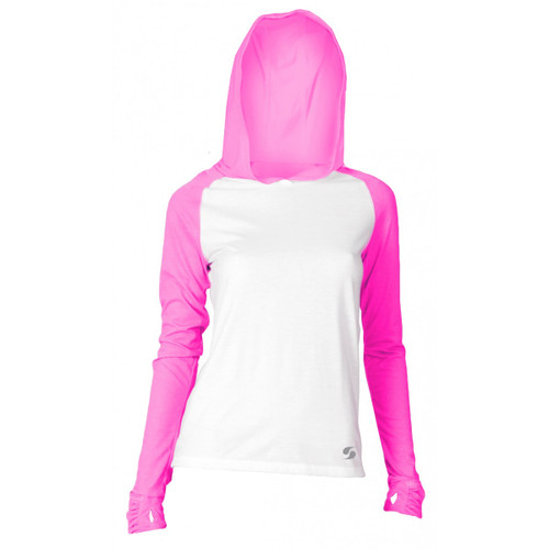 SOFFE JR NO SWEAT COLOR BLOCK HOOD - WHITE/NEON PINK