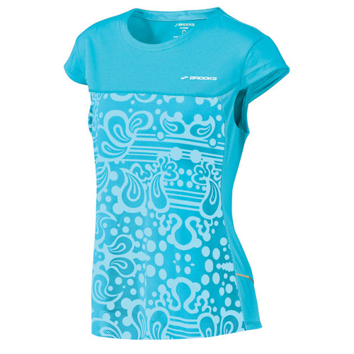 Brooks Running Short Sleeve Synergy Top in Aqua