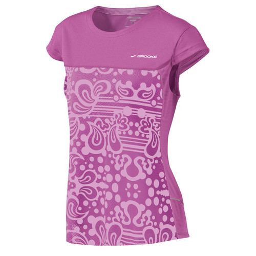 Brooks Running Short Sleeve Synergy Top in Berry