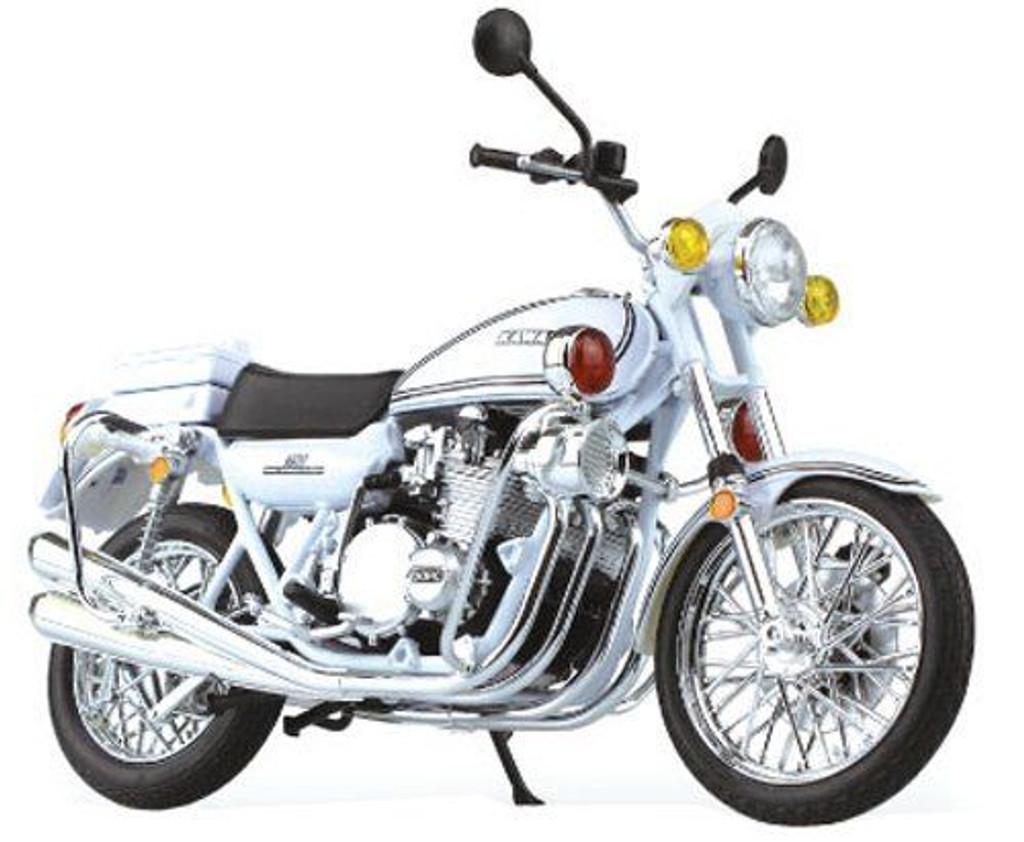 Aoshima Skynet 80986 Kawasaki 750RS-P Z2 Police Motorcycle (White) 1/12 Scale