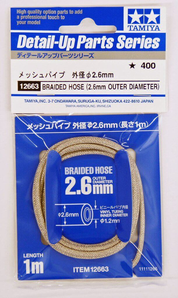 Tamiya 12663 Braided Hose (2.6mm Outer Diameter)
