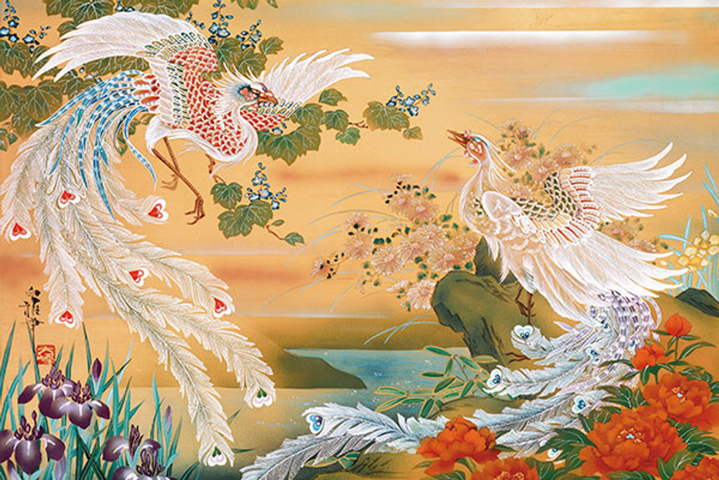 APPLEONE Jigsaw Puzzle 1000-803 Japanese Art White Chinese Phoenix (1000 Pieces)