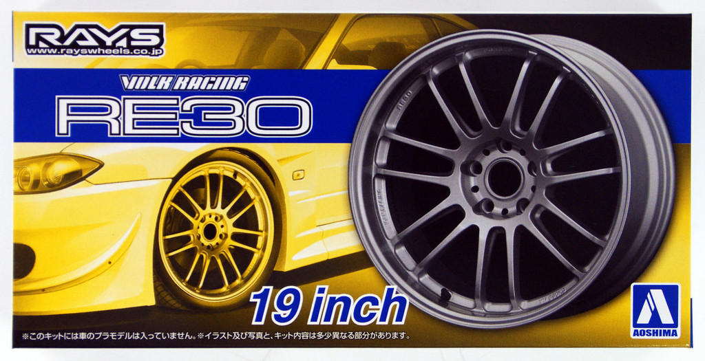 Aoshima 53812 Tuned Parts 48 1/24 VOLK RACING RE30 19inch Tire & Wheel Set