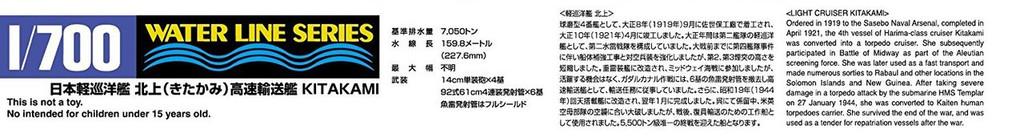 Aoshima Waterline 54741 Light Cruiser Kitakami High Speed Transports 1/700 scale kit