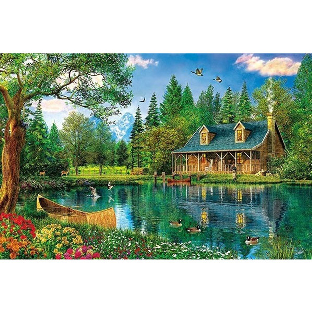 APPLEONE Jigsaw Puzzle 300-334 Dominic Davison Crystal Lake Cabin (300 Pieces)