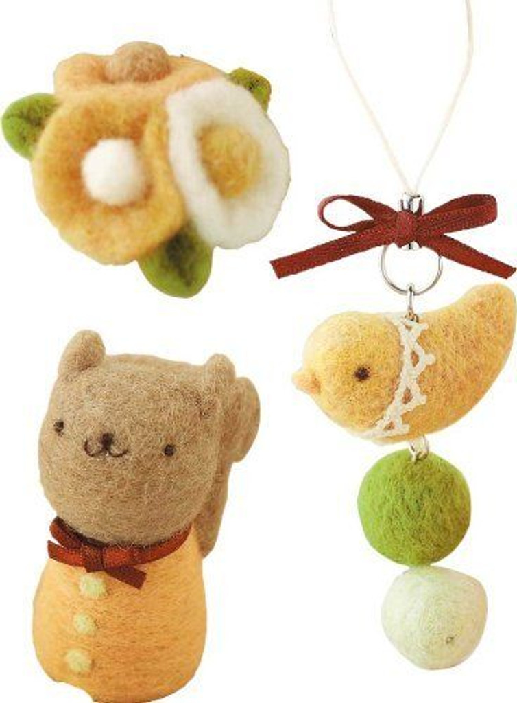 Hamanaka H441-317 Felt Wool Mascot Squirrel & Bird & Flower Cute Lesson Kit