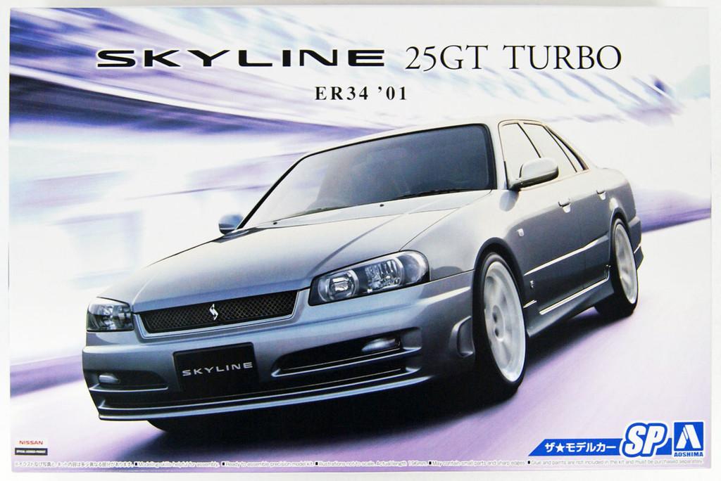 Aoshima 55960 The Model Car SP Nissan ER34 Skyline 25GT Turbo 2001 Custom Wheel 1/24 Scale Kit