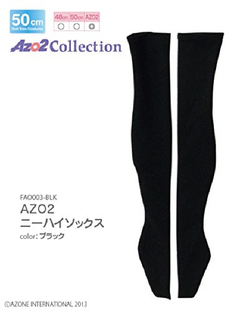 Azone FAO003-BLK Azo 2 Knee High Socks Black