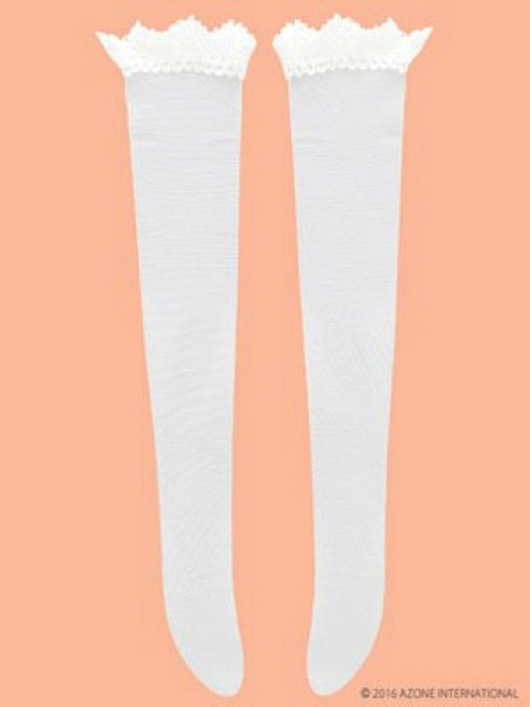 Azone FAO032-WHT Azo 2 Lace Knee High Stocking White