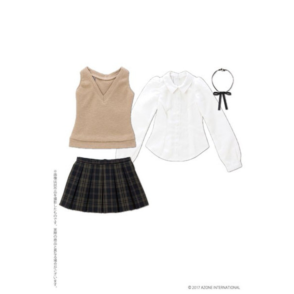 Azone FAO084-BEB Azo 2 Square Collar Classical School Girl Set Beige x Black