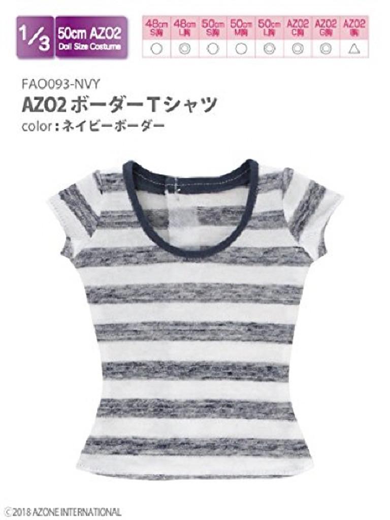 Azone FAO093-NVY AZO2 Border T-shirt Navy Border