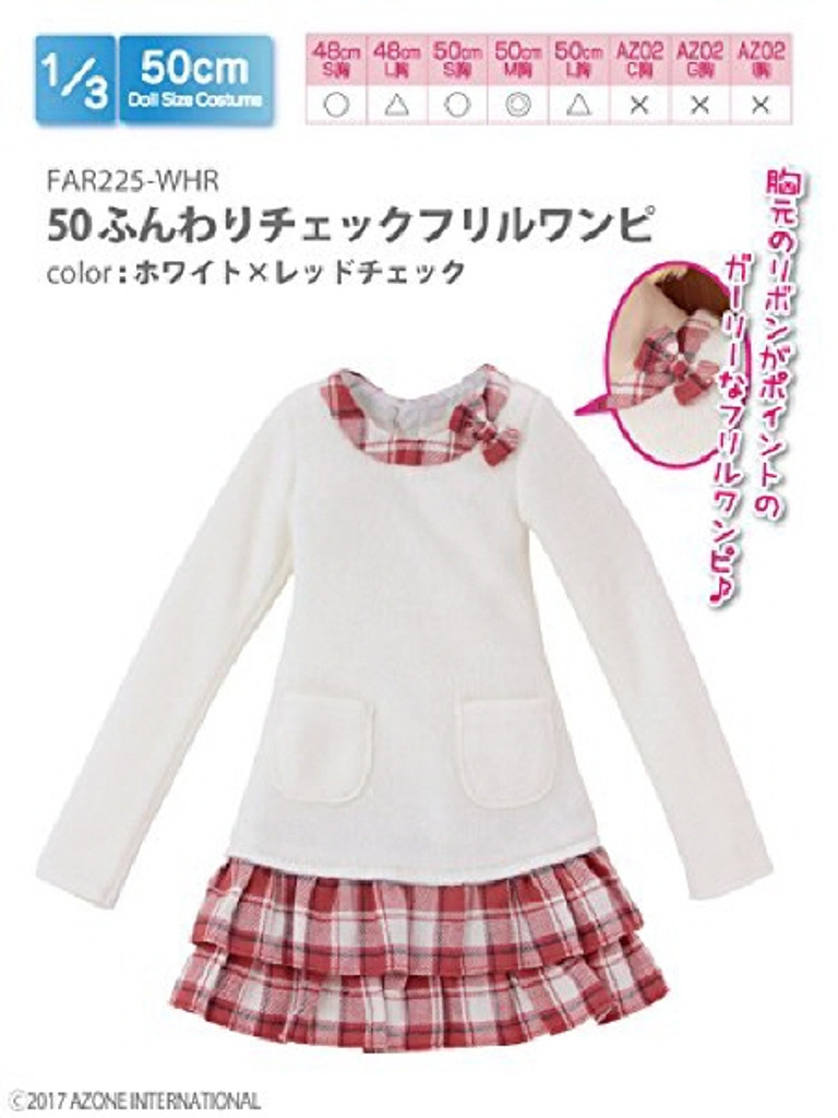 Azone FAR225-WHR for 50cm doll Fluffy Check Ruffle Dress On White x Red Check