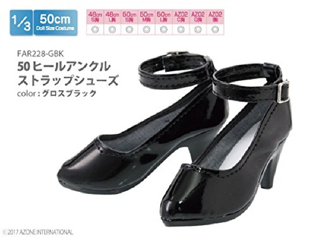 Azone FAR228-GBK 50cm doll Heel Ankle Strap Shoes Gloss Black