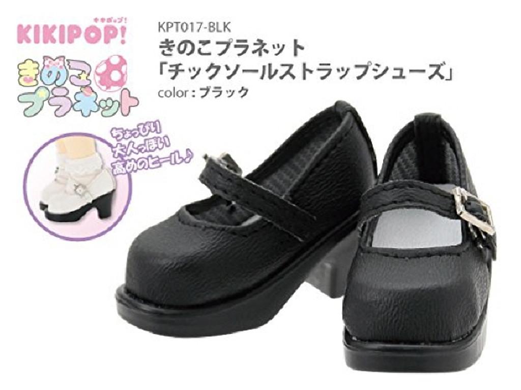 Azone KPT017-BLK Mushroom Planet 'Tic Soole Strap Shoes' Black
