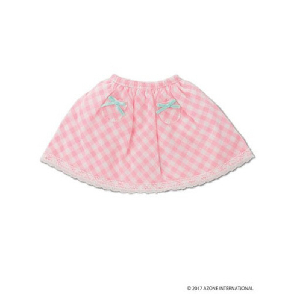 Azone KPT021-PNK Mushroom Planet 'Little Pocket Skirt' Pink Check