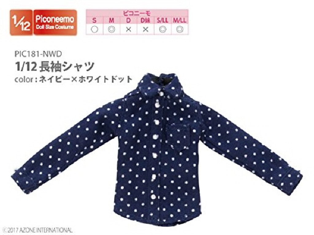 Azone PIC181-NWD 1/12 Long Sleeve Shirt Navy x White Dot
