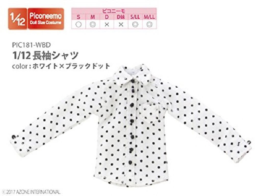 Azone PIC181-WBD 1/12 Long Sleeve Shirt White x Black Dot