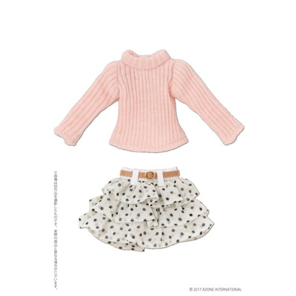 Azone PIC192-WHT 1/12 Turtle Knit & Skirt Set With Belt Pink x White