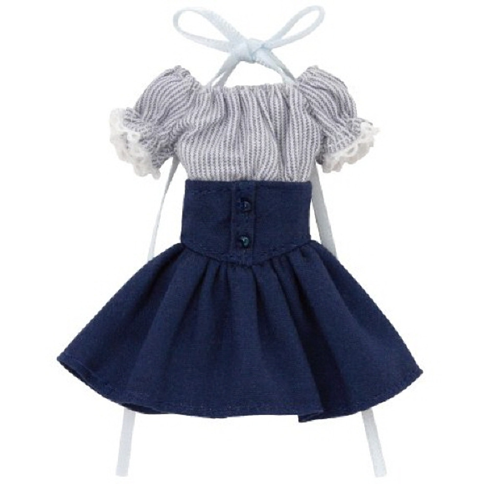 Azone PIC202-NVN 1/12 Off-Shoulder Sunny One Piece Dress Navy Stripe x Navy