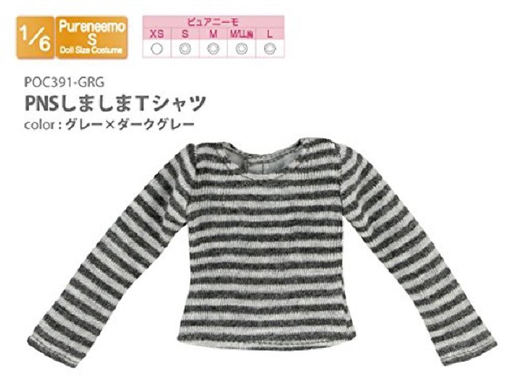 Azone POC391-GRG PNS Shimashima T-Shirt Gray x Dark Gray