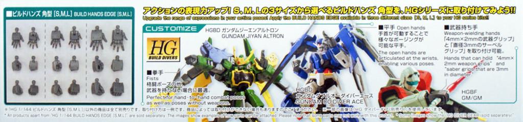 Bandai HG Gundam Build Custom 043 Build Hands Edge (S/M/L) 1/144 Scale Kit