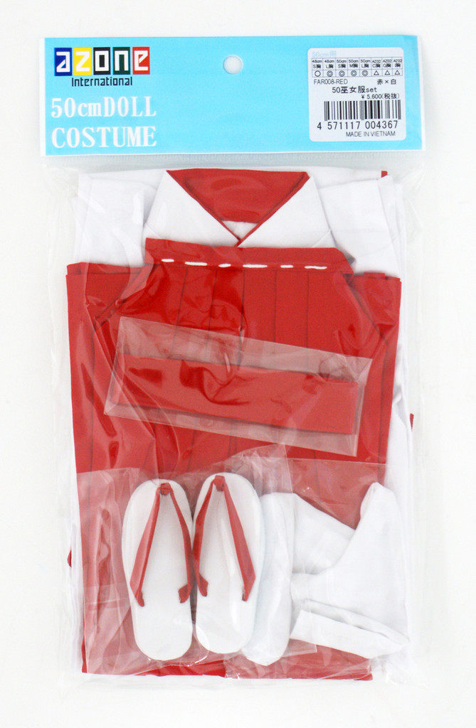 Azone FAR008-RED 50cm Doll Miko Shrine Maiden Costume Set Red