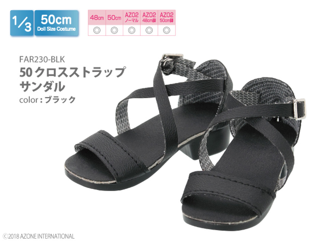 Azone FAR230-BLK 50cm doll Cross Strap Sandals Black