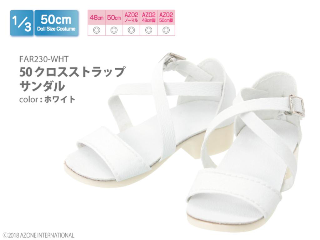 Azone FAR230-WHT 50cm doll Cross Strap Sandals White