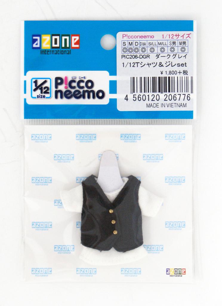 Azone PIC206-DGR 1/12 Picco Neemo T-shirt & Gilet Set Dark Gray