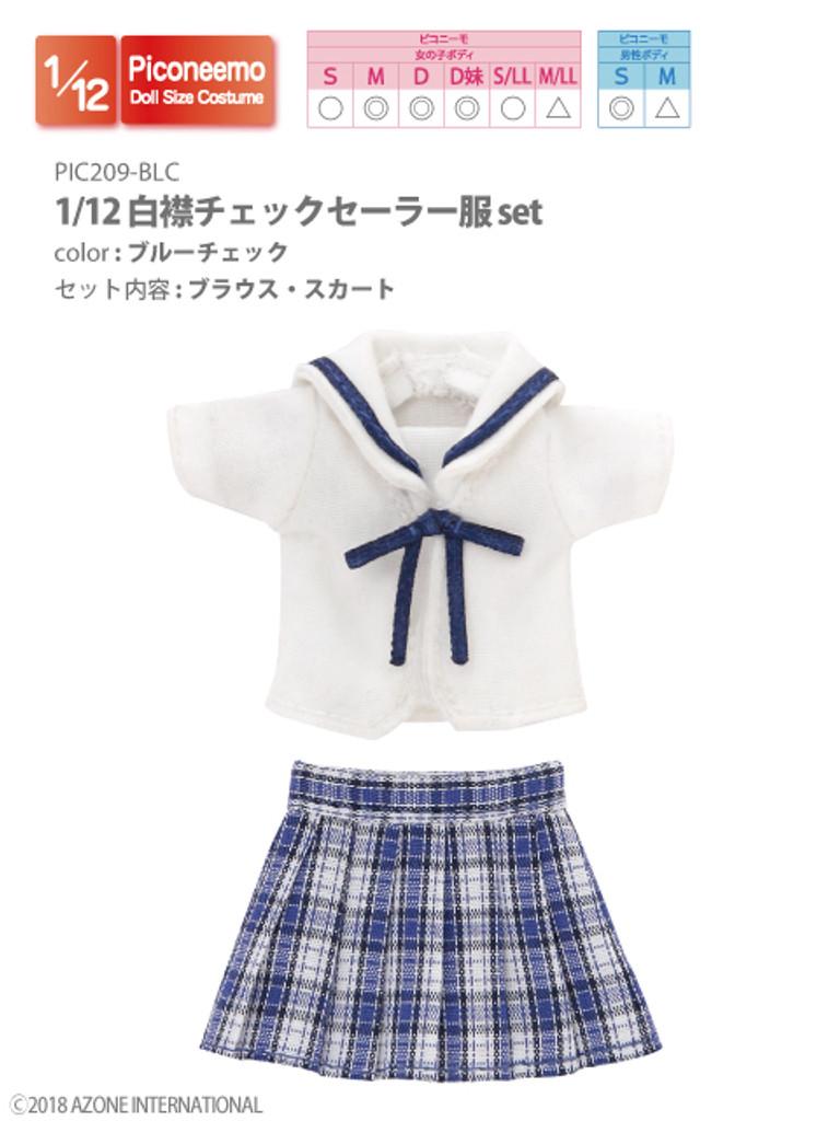 Azone PIC209-BLC 1/12 Picco Neemo Sailor School Uniform Blue Check