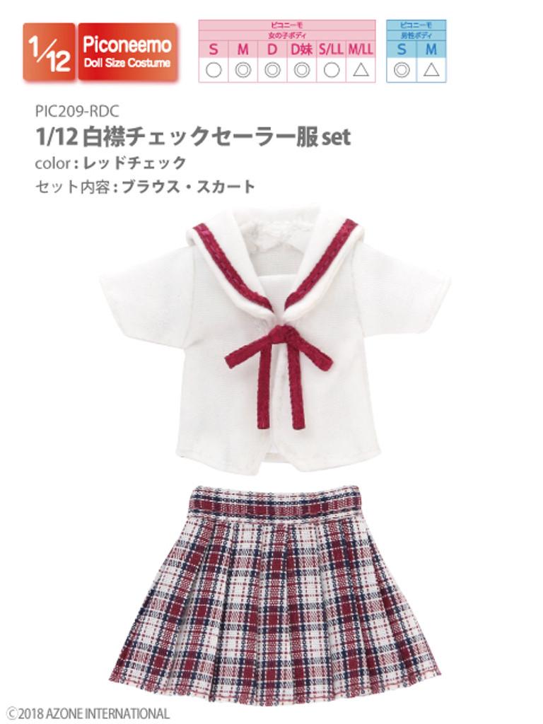 Azone PIC209-RDC 1/12 Picco Neemo Sailor School Uniform Red Check