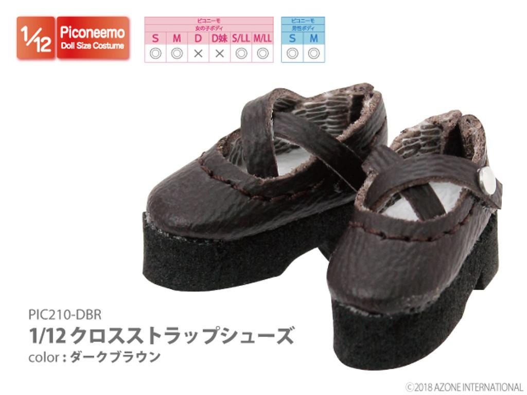 Azone PIC210-DBR 1/12 Picco Neemo Cross Strap Shoes Dark Brown