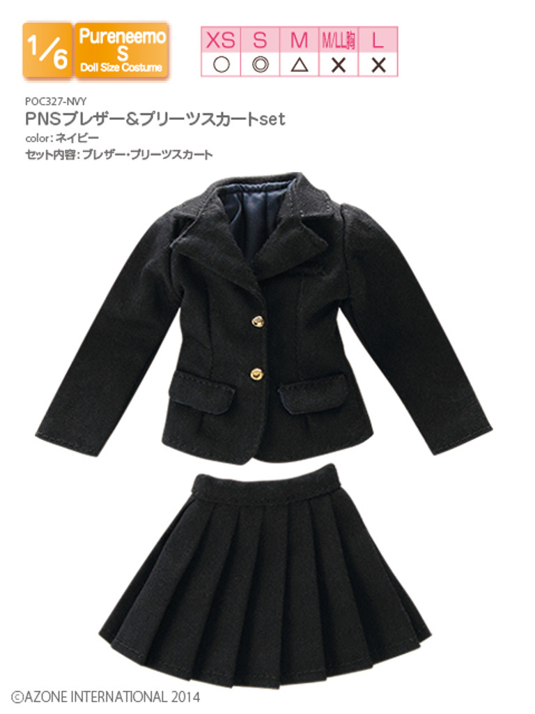 Azone POC327-NVY 1/6 Pure Neemo S Blazer & Pleated Skirt Set Navy