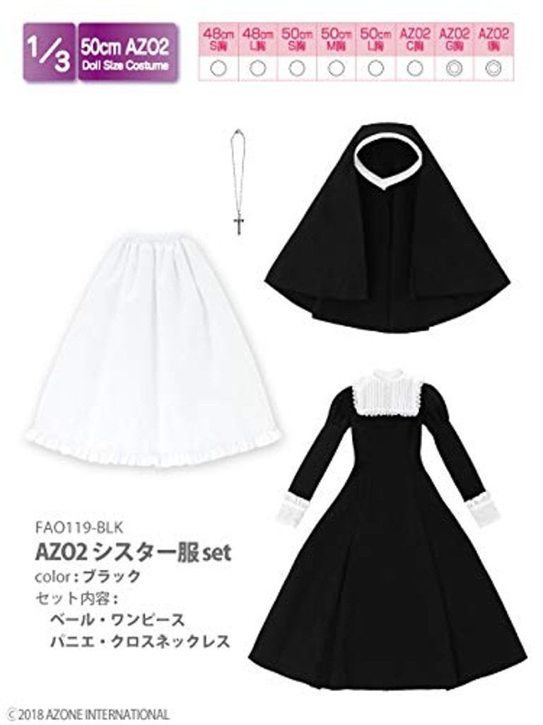 Azone FAO119-BLK 50cm AZO2 Nun Costume Set Black