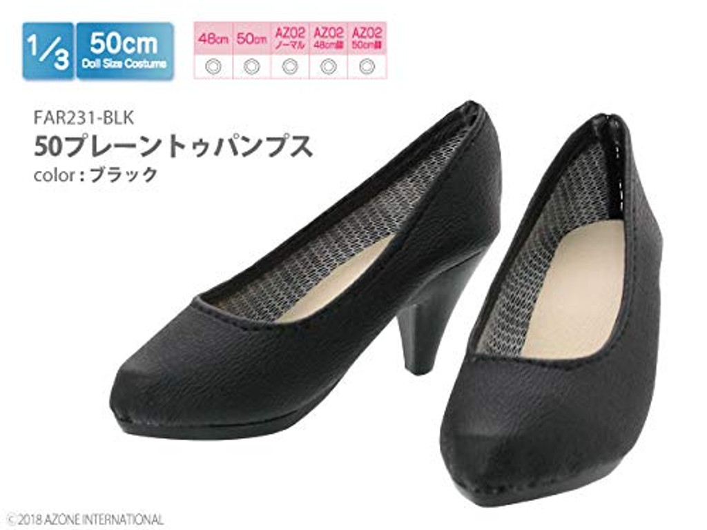 Azone FAR231-BLK 50cm doll Plain Toe Pumps Black