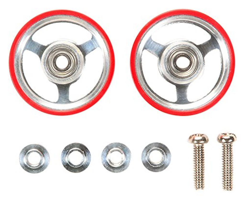 Tamiya 95347 Mini 4WD 17mm Aluminum Rollers W/Plastic Rings (Red)