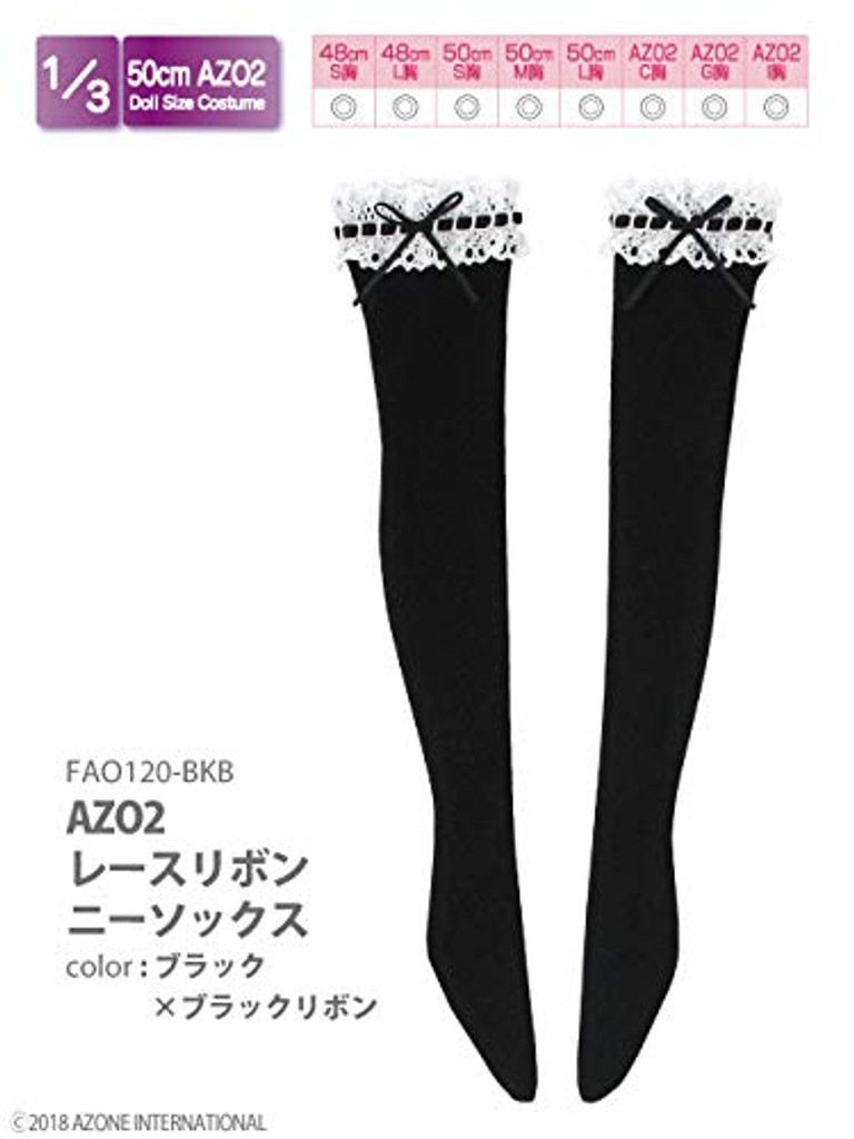 Azone FAO120-BKB 50cm AZO2 Lace Ribbon Knee-high Socks Black x Black Ribbon