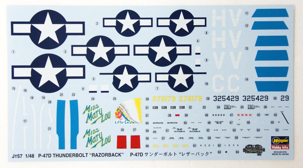 Hasegawa JT57 P-47D Thunderbolt 'Razorback' 1/48 Scale kit