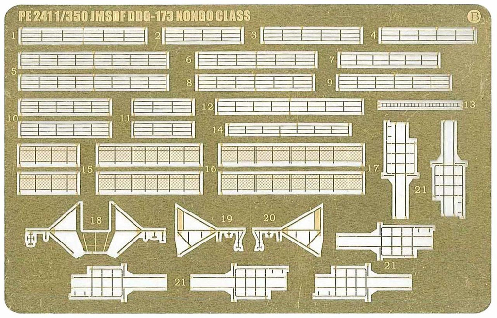 Pit-Road Skywave PE241 Photo-etched Parts for JMSDF Aegis Escort Vessel DDG-173 Kongo 1/700 Scale
