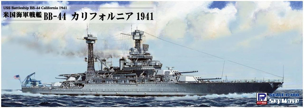 Pit-Road Skywave W-187NH USS Battleship BB-44 California 1941 w/ Flag Ship Name Plate Photo-etched Parts 1/700 Scale kit