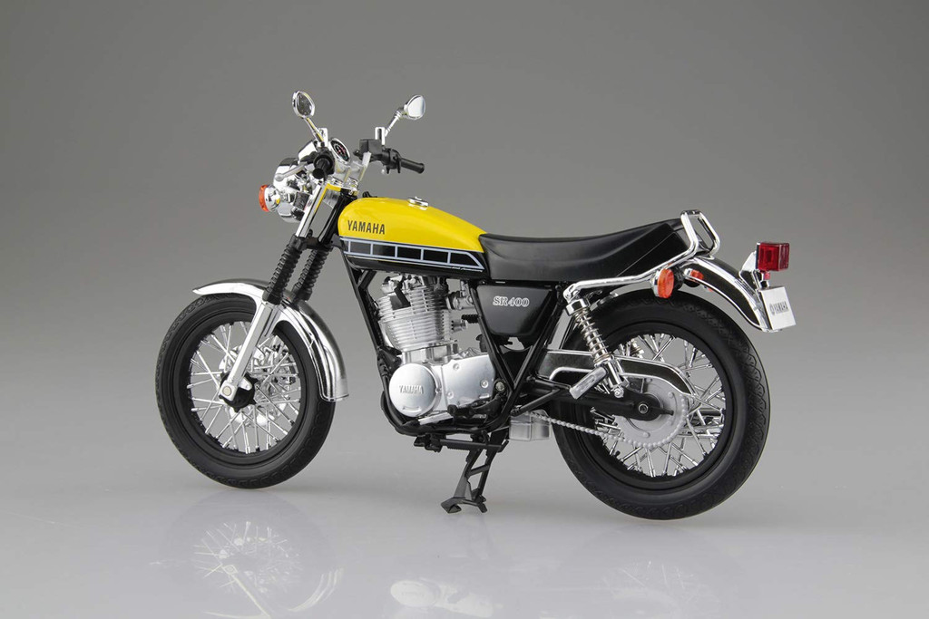 Aoshima Skynet 05887 YAMAHA SR400 Light Reddish Yellow Solid 1/12 Scale Finished Model