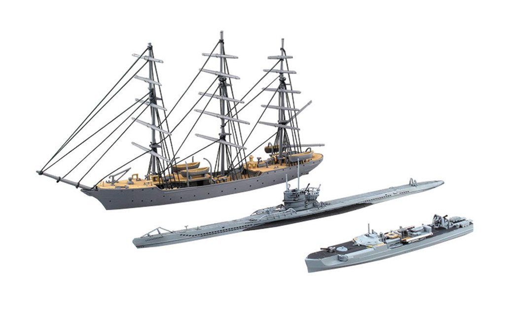 Aoshima Ironclad 56578 Christian Radich & S-boat & U-boat 1/350 Scale Kit