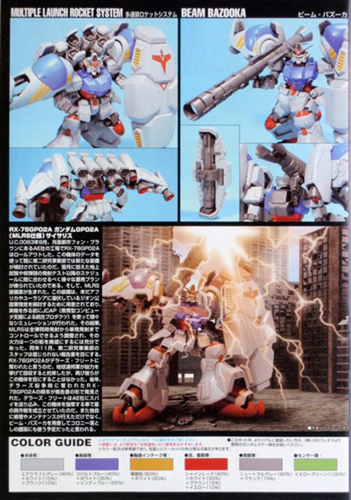 Bandai HGUC 075 Gundam RX-78GP02A GP02A TYPE-MLRS 1/144 Scale Kit