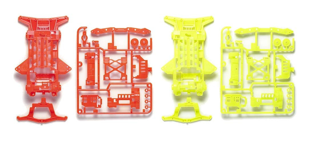 Tamiya 95479 Mini 4WD Super XX Fluorescent-Color Chassis Set (Orange/Yellow)