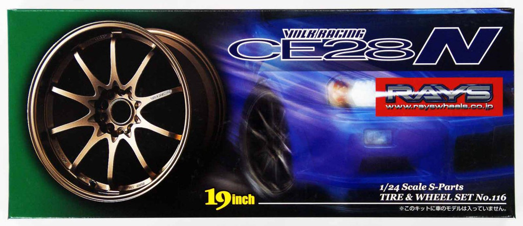 Aoshima 05545 Tire & Wheel Set VOLK Racing CE28N 19 inch 1/24 Scale Kit