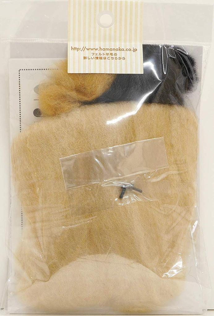 Hamanaka  H441-536 Aclaine Felt Wool Bon Bon Handicraft Kit Miniature Dachshund (Cream)