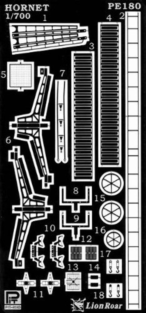 Pit-Road PE180  WWII USN Yorktown Class Hornet Photo-Etched Parts 1/700 Scale